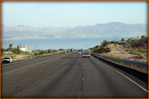 it was time to head east. And here we are coming up on Lake Mead just before crossing over the Hoover Dam area.