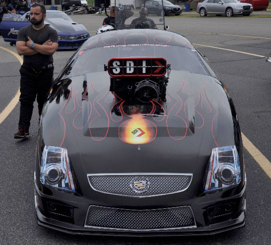 John JFS Stanley PDRA Stanley & Weiss Racing Cadillac CTSV Pro Mod awaits his turn to Make drag racing great again!