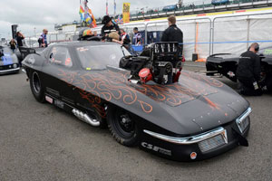 Marcus Hilt's sinister looking Trouble Racing Corvette Pro Mod in the staging lanes